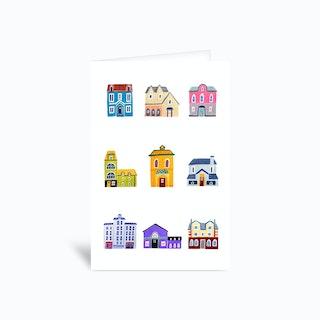 Houses Greetings Card