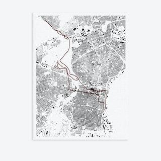 Philadelphia Marathon Canvas Map Art