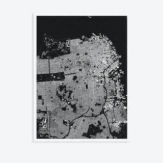 San Fransisco Black Canvas Map Art