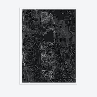 Central Park Topography Black Canvas Map Art