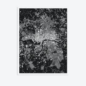 London Black Canvas Map Art