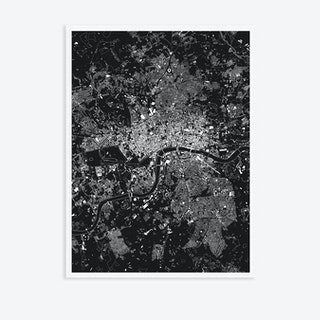 London Black Canvas Map Art