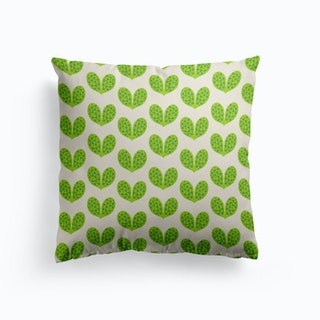 Green Leaf Heart Cushion