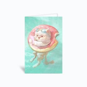 Donut Pool Float Greetings Card