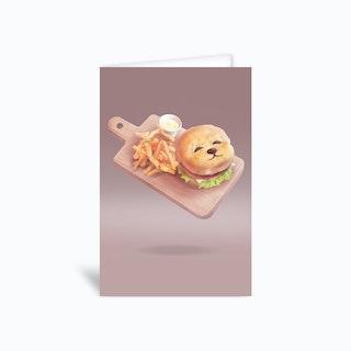 Smile Dog Burger Greetings Card
