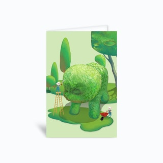 Topiary Dog Greetings Card