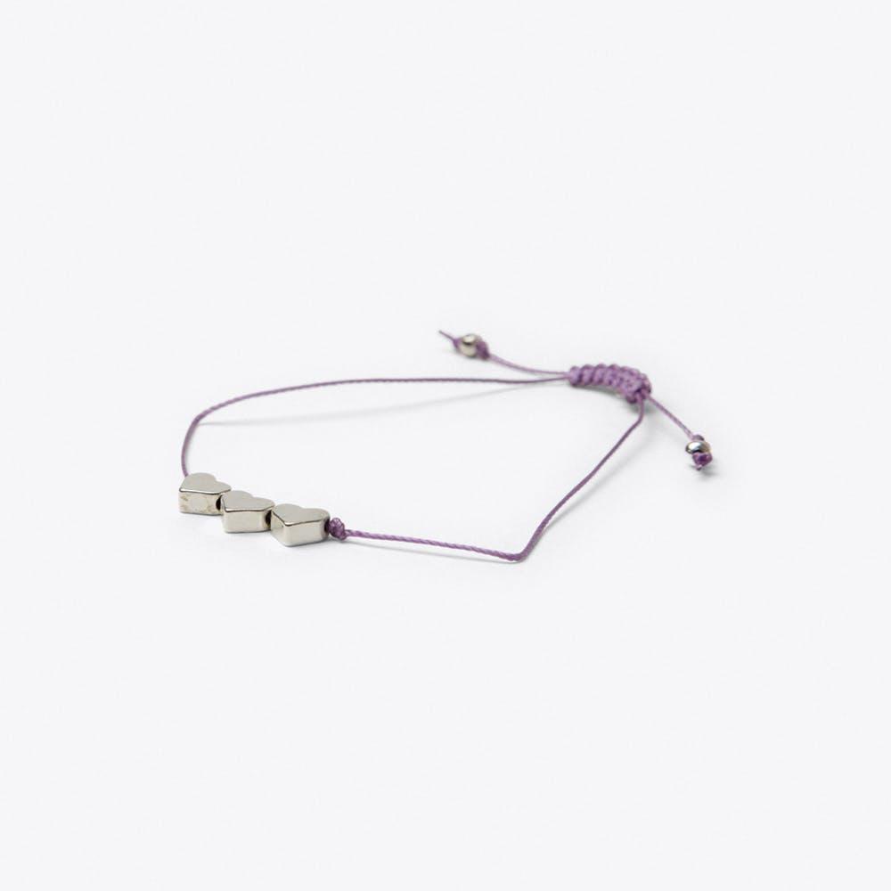 Heart Friendship Bracelet in Purple Orchid