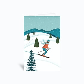 Skiing Solo 4x6 Greetings Card