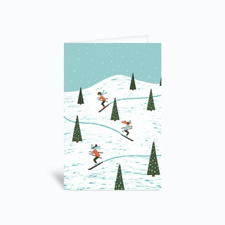 Lets Go Skiing 4x6 Greetings Card