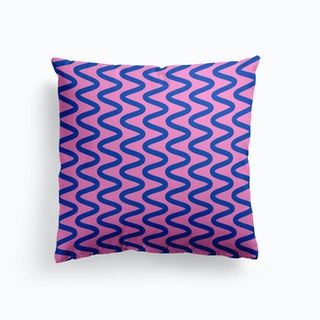 Squiggly Lines In Pink And Blue Cushion