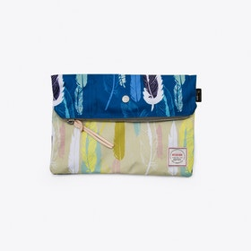 Krill Clutch in Blue and Beige Feathers