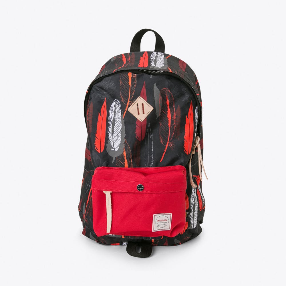 Chameleon Backpack in Red and Black feathers
