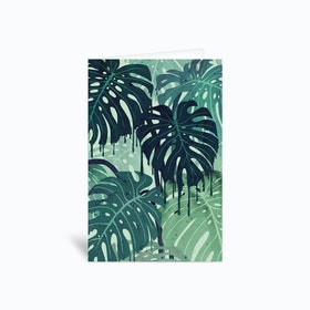 Monstera Melt In Green Greetings Card