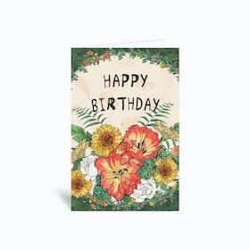 Happy Bday Flower Greetings Card