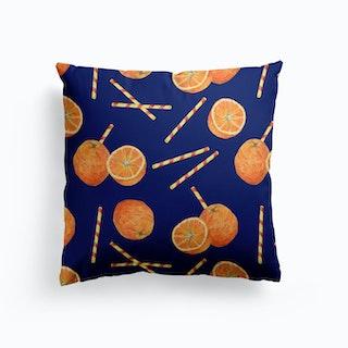 Orange Juice Blue Cushion