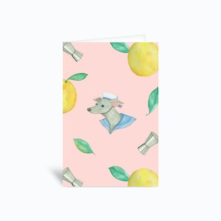 Salty Dog Pink Greetings Card