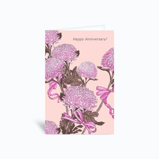 Flower And Ribbon Pink Greetings Card