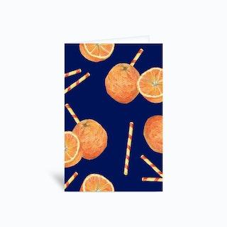 Orange Juice Blue Greetings Card