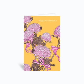 Flower And Ribbon Yellow Greetings Card