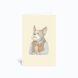 French Bulldog And Gin Tonic Greetings Card