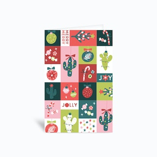 Christmas Cactus Square Greetings Card