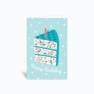 Floral Birthday Cake Greetings Card