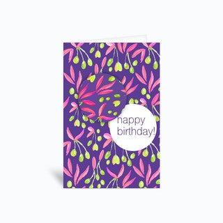 Floral Happy Birthday I Greetings Card