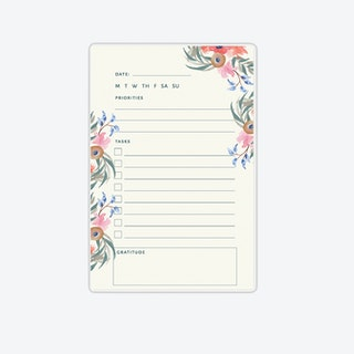 Floral Daily Task Notepad