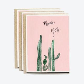 Pink Cactus Thank You Card Set