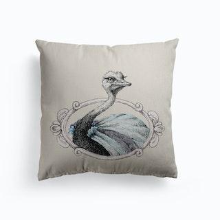 Portrait Of Lady Ostrich Canvas Cushion