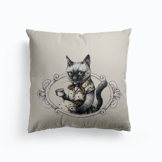 Portrait Of Lady Cat Canvas Cushion