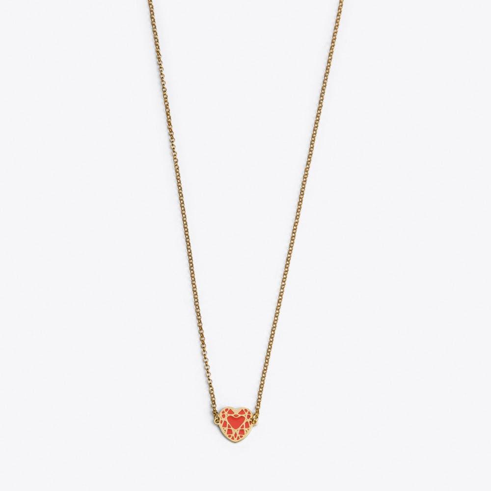 Heart Necklace in Pink Enamel