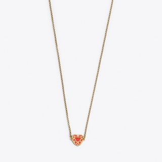 Heart Necklace in Pink Enamel