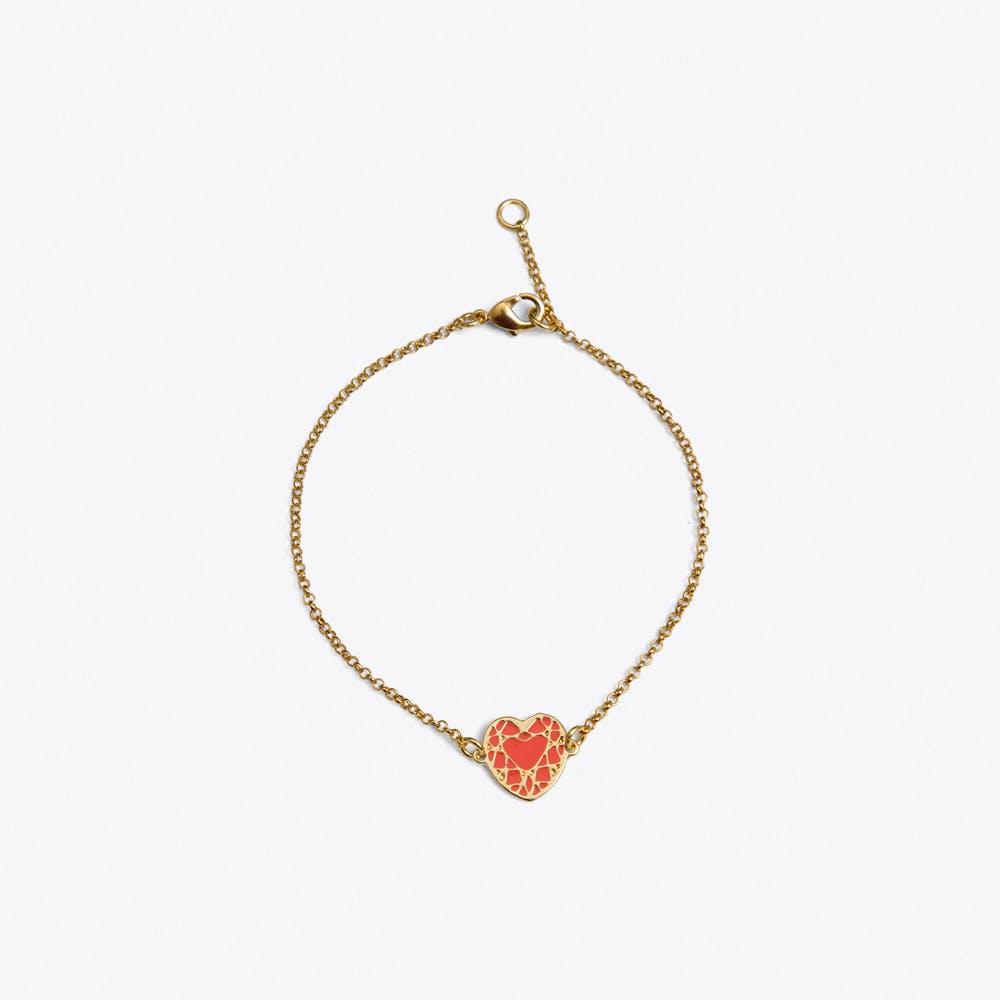 Heart Bracelet in Pink Enamel