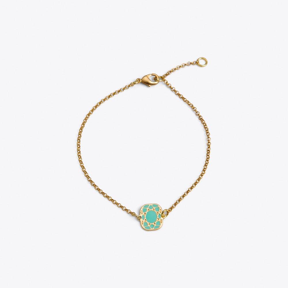 Cushion Bracelet in Green Enamel
