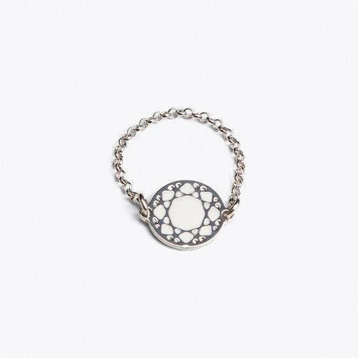 Brilliant Ring in White Enamel