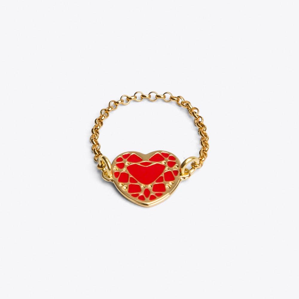 Heart Ring in Red Enamel