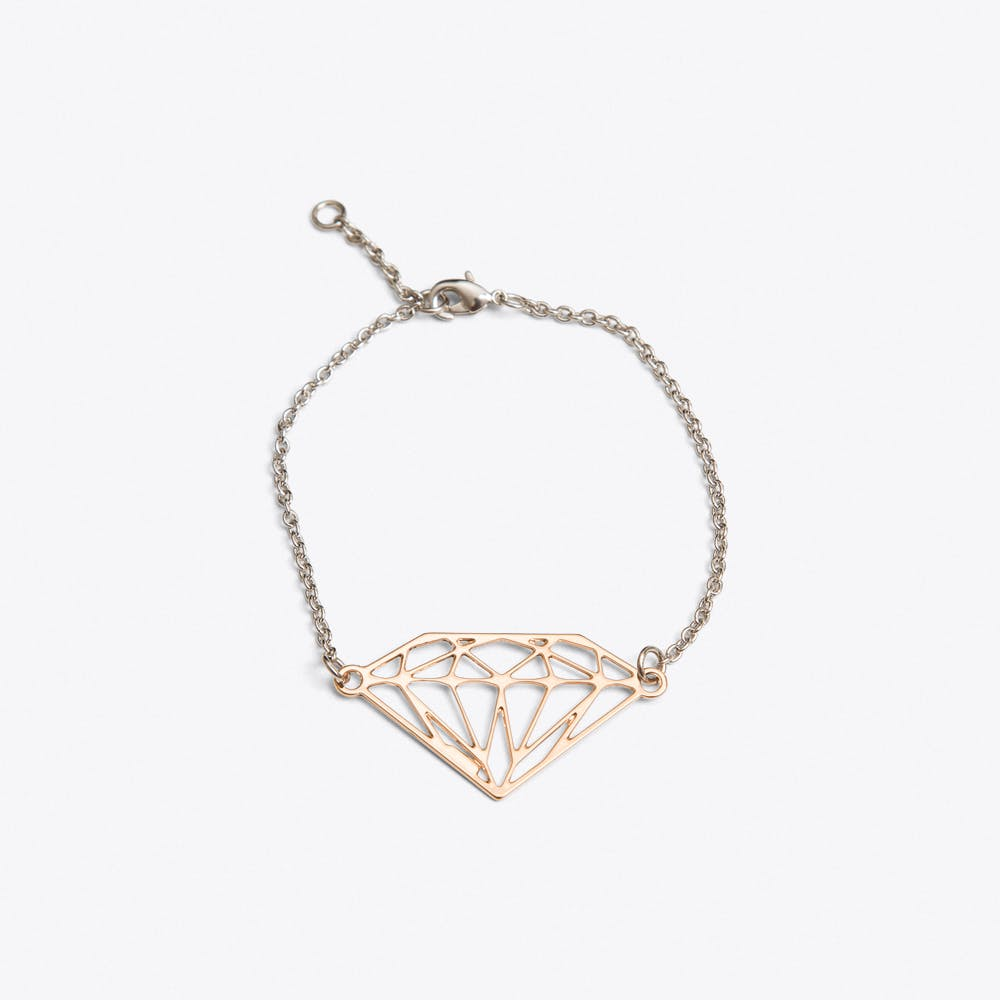 Geometric Diamond Bracelet in Rose Gold