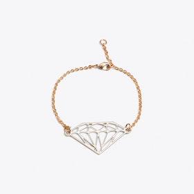 Geometric Diamond Bracelet in Rhodium