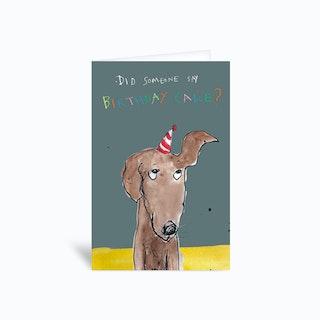 Birthday Cake Dog  Greetings Card