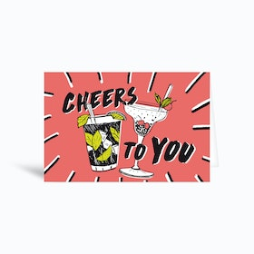 Cocktails Birthday Cheers 6x4 Greetings Card