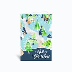 Paper Christmas Trees 4x6 Greetings Card