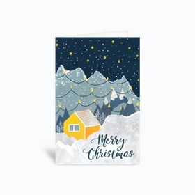 Christmas Paper House In Mountains 4x6 Greetings Card
