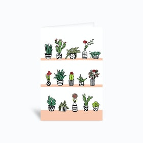 Cactuses And Flowers 4x6 Greetings Card