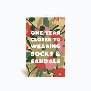Socks And Sandals Greetings Card