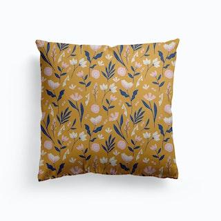 Mustard Floral Canvas Cushion