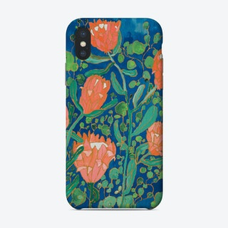 Coral Proteas Painted On Blue Phone Case