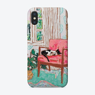 Mid Century Chair With Napping Tuxedo Cat Painting Phone Case