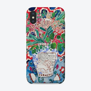 Lion Vase Floral Still Life With Red And Blue Patterns Phone Case