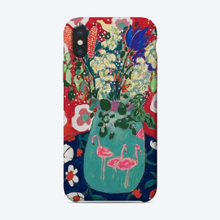 Maximalist Floral Still Life With Flamingo After Matisse Phone Case